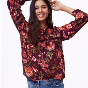 Loft Burgundy Floral Ruffled Blouse